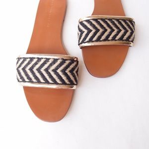 ZARA TRAFALUC Natural Black Gold Jute Flat Slides